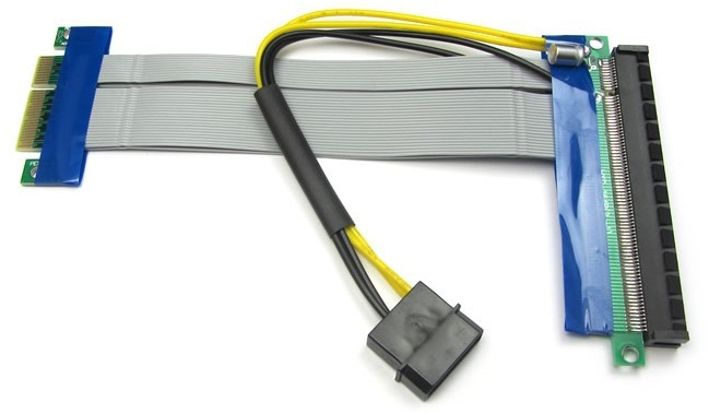 PCI-Express cable from x4 to x16 with the molex connector