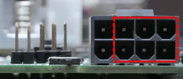 Detail of the power connector on the T2080 board, unplugged